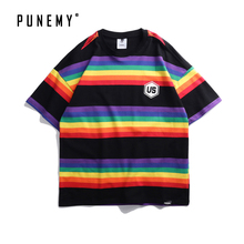 Stripe Rainbow LGBT Printed T-shirts Unisex Oversized t shirt High Street Clothing Drop Shoulder Brand Male Homme T-shirts drop shoulder milk print high low t shirt