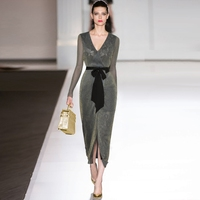 Spring Summer Sexy Dress 2018 High Quality Runway Dresses Full Sleeve V Neck Elegant Lace Patchwork Mesh Bodycon slit Dress B474