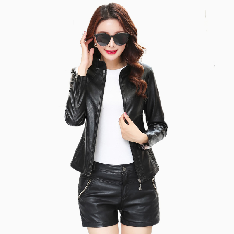 Free shipping 2018 new designer black purple grey soft real leather jacket women lady genuine leather