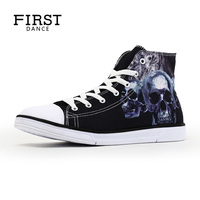 New Design Men High Top Shoes 3D Skull Printed Women Canvas Shoes Students Party Shoes Lace