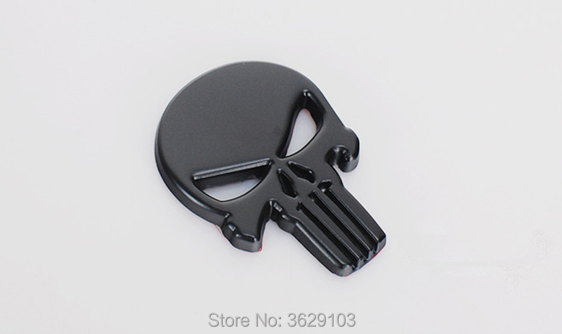 Car Styling 3D Metal The Punisher Skull Emblem Badge accessories for Land Rover discovery 2 3 4 freelander 1 2 defender a9 a8