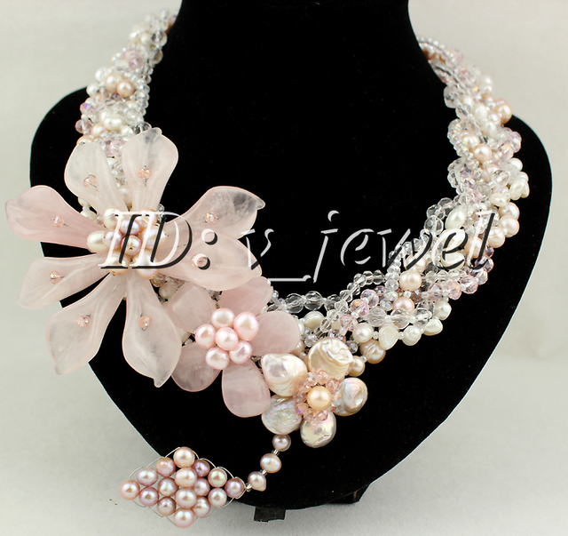 Rose Quartz Jade Flower Pearl Necklace/Earring Set