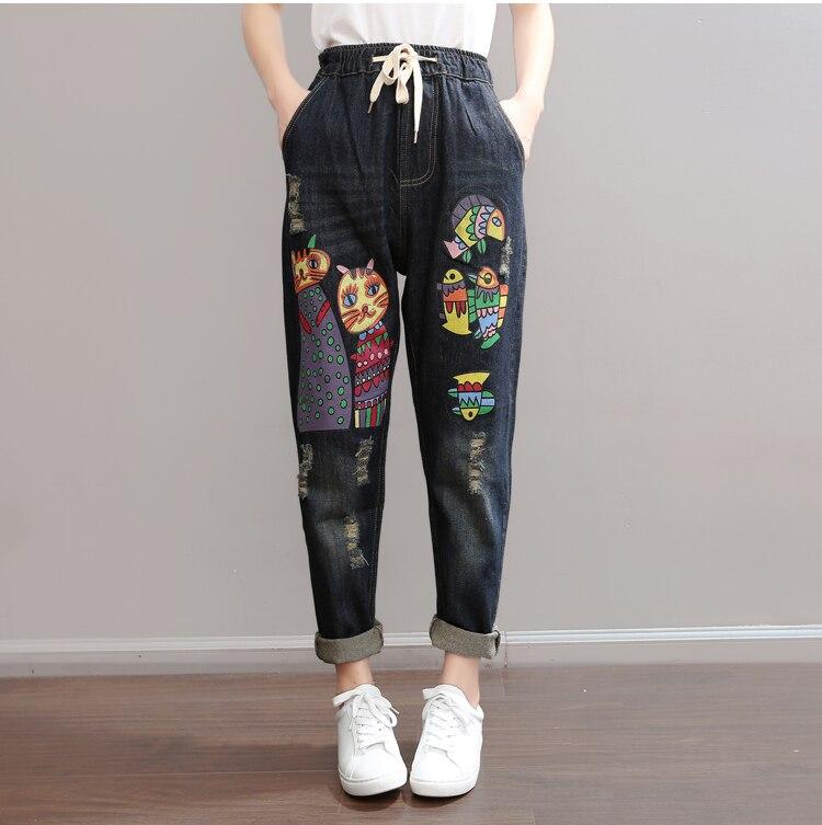 Womens Korean Cartoon lovely cat Hole Loose emoji Trousers girl Elastic waist Straight Denim Pants Female Character Print   Jeans