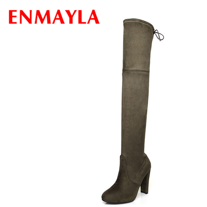 ENMAYLA Fashion High Heels Long Boots Shoes Woman Over-the-knee Lace-up Round Toe Faux Suede Black Shoes Woman Thigh High Boots enmayla autumn winter chelsea ankle boots for women faux suede square toe high heels shoes woman chunky heels boots khaki black