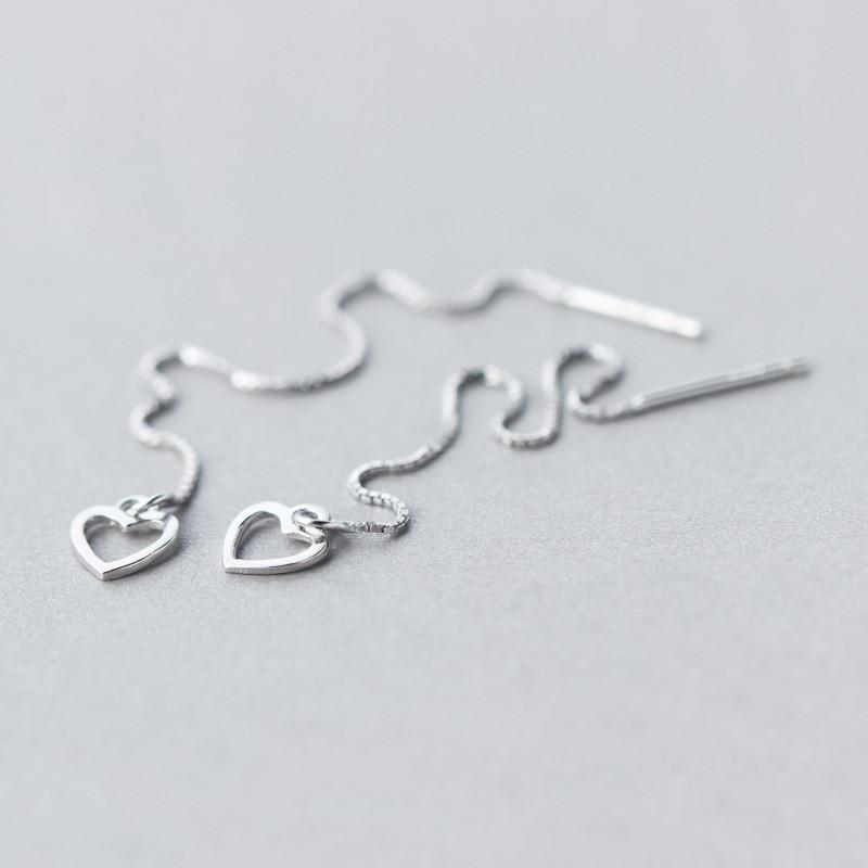 Sterling Silver Heart Pull Through Box Chain Earrings fa12n
