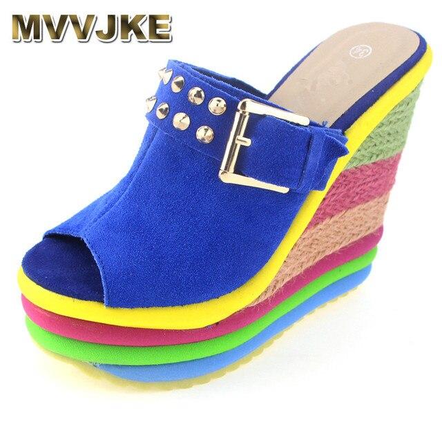 MVVJKE Sandalias Plataforma Summer Shoes Woman Bohemia Rainbow High Heel  Slip On Peep Toe Platform Wedges Sandals Womens-in Slippers from Shoes on  ...