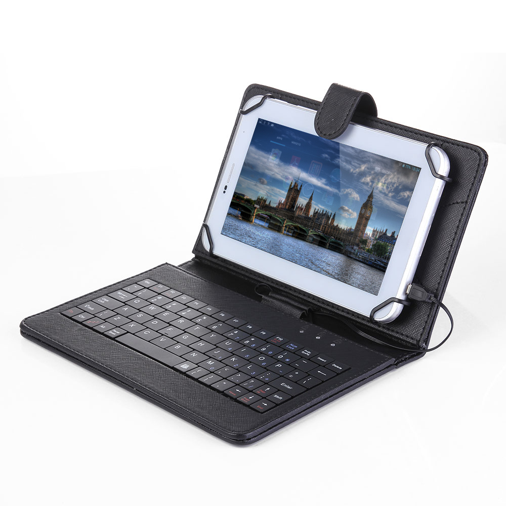 NEW Folding Foldable Folio Magnetic PU Leather Case Cover Stand Holder with Keyboard Stylus Pen for Android 7