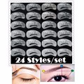 24pcs/lot Eyebrow Stencils 24 Styles Reusable Eyebrow Drawing Guide Card Brow Template DIY Make Up Tools Wholesales
