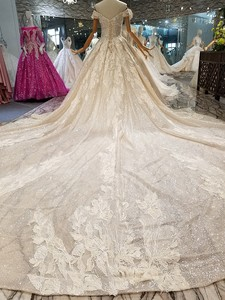 Image 2 - LS014478 shiny wedding gown with glitter sweetheart off shoulder lace up v back from real factory abito da sposa corto