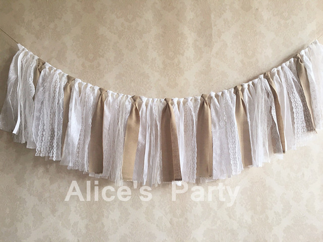 rustic lace burlap garland wedding party decorations cottage beach bridal shower hanging banner room decor photo