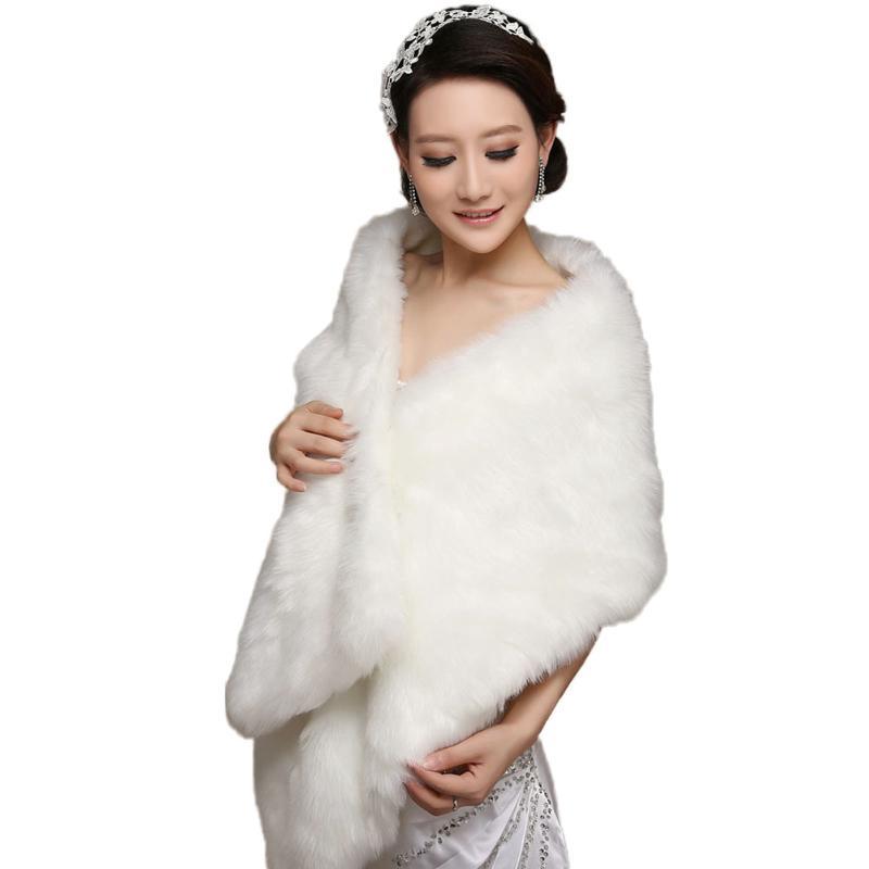 Elegant Plush Warm Shawl Wrap Long Artificial Fur Bridal Wedding Scarves Autumn Winter Warm Women Scarves Plush Party Photo Wrap