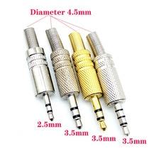 цена на 3-pole stereo 3.5 mm 1/8 inch earphone DIY male audio socket computer solder 4-pole audio socket charging DIY maintenance