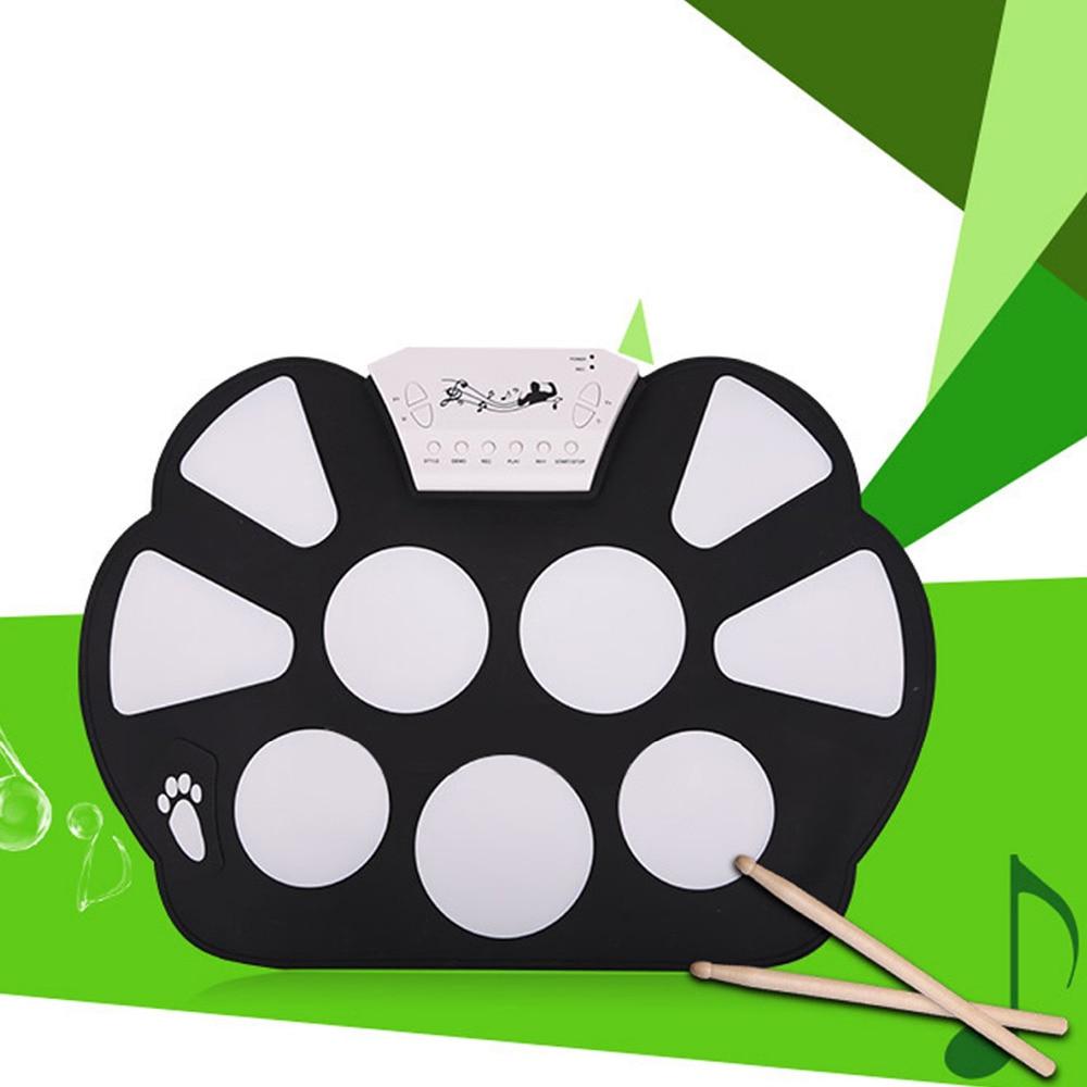 Portable pliant USB pratique électronique enrouler le Kit de tampon de tambour avec des pédales de pilons Instruments de musique éducatifs jouets cadeaux