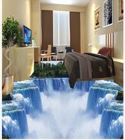 Modern Custom 3D Floor Mural Waterfall Bathroom Toilet Living Room 3D Flooring PVC Wall Paper Self adhesive Floor Mural