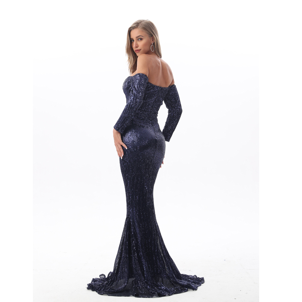 Sexy Hollow Out Off The Shoulder Long Sleeve Sequin Party Dress Stretch Floor Length Bodycon Navy