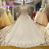 Robe De Mariage Princess Bling Luxury Crystals White Wedding Dress With Real Picture Ball Gown Lace