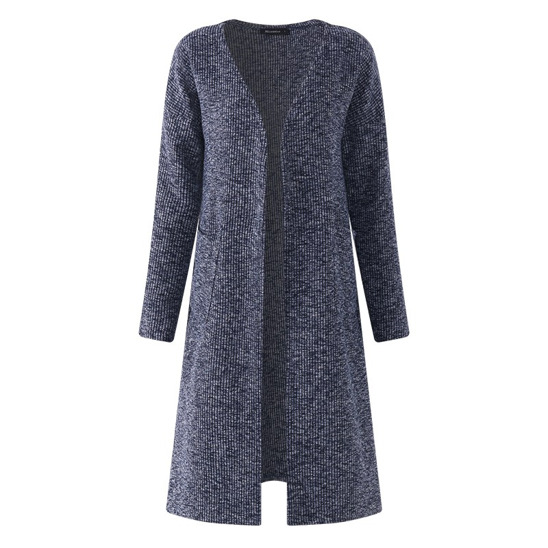 2018 New Autumn Winter Knitted Crochet Sweater for Women Long Cardigan With Prockets Female Sweaters Cardigan Women Warm Outwear