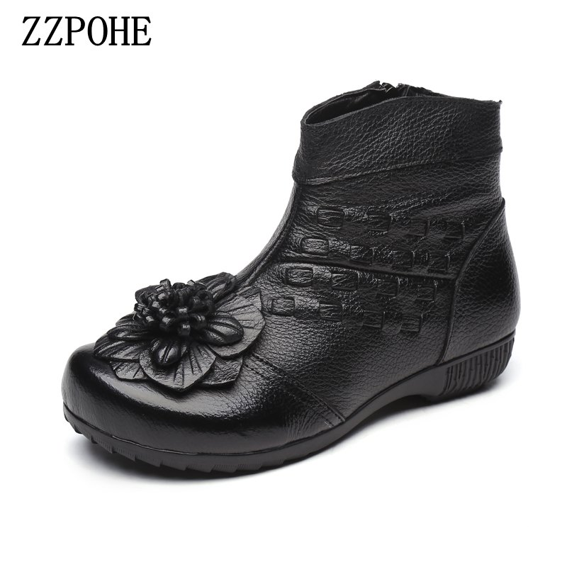 ZZPOHE Woman Winter Fashion Boots Genuine Leather Ankle Boots anti slip and abrasion resistant national style embroider boots