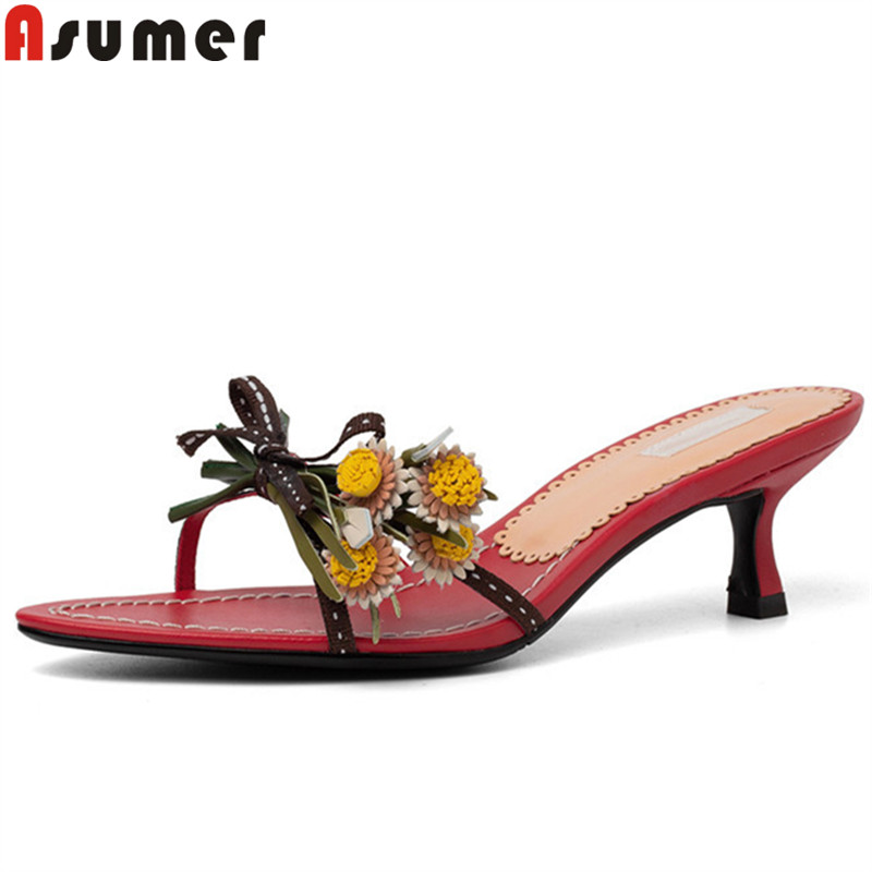 ASUMER 2019 summer sandals women shallow flowers high heels shoes women elegant women slippers casual outside