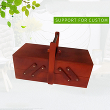 Cantilevered With Handle Shabby Wooden Storage Sewing Box Cosmetic Case Large Capacity Home Vintage Organizer Travel Multi Layer
