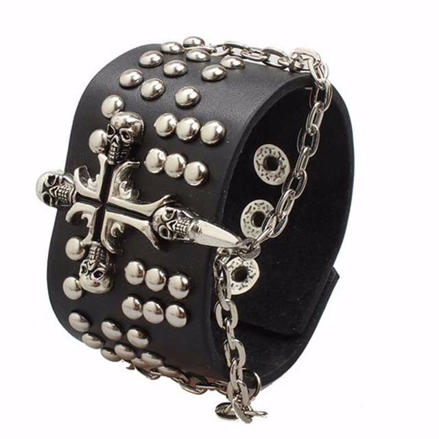 Cute Cross Decorated Riveted Leather Steampunk Bracelet