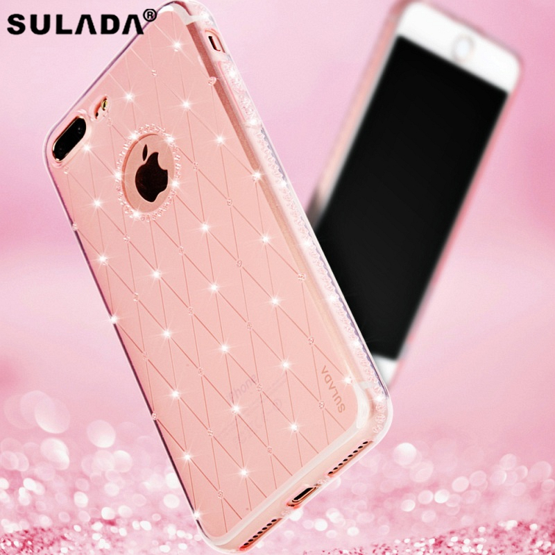 SULADA for iPhone7 4.7 inch Phone Case Rhinestone Decoration Mobile Phone Casing (TPU) for iPhone 7 4.7 inch - Rose Gold ...