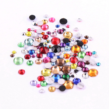 1000pcs  rhinestone resin Mix Color and Size Round Flatback Glue On Stones For DIY Nail Art