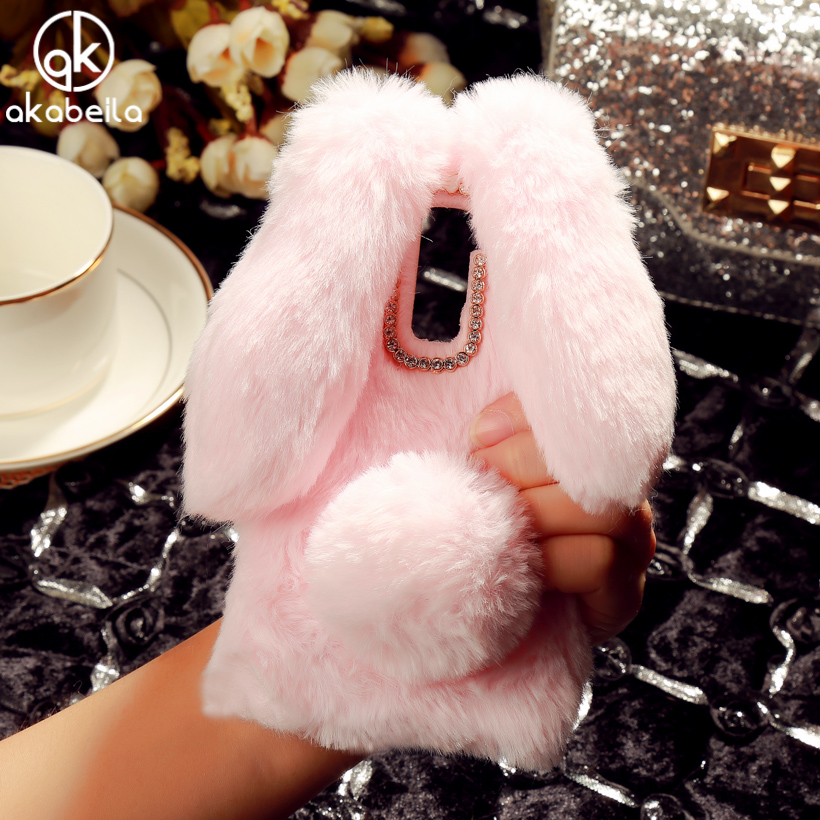 AKABEILA Rabbit Hair Silicone Phone Cases For LG