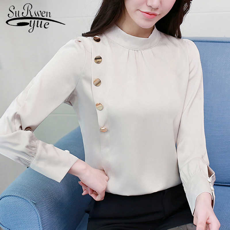 053f7094248 2019 Spring Korean Style Chiffon Blouse Female Long Sleeved Tops Shirt  Femininas Formal Ladies Tops Office