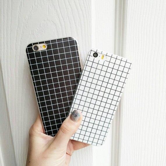 Moda patrón del ceñidor de tartán blanco y negro soft phone case cubierta de coq