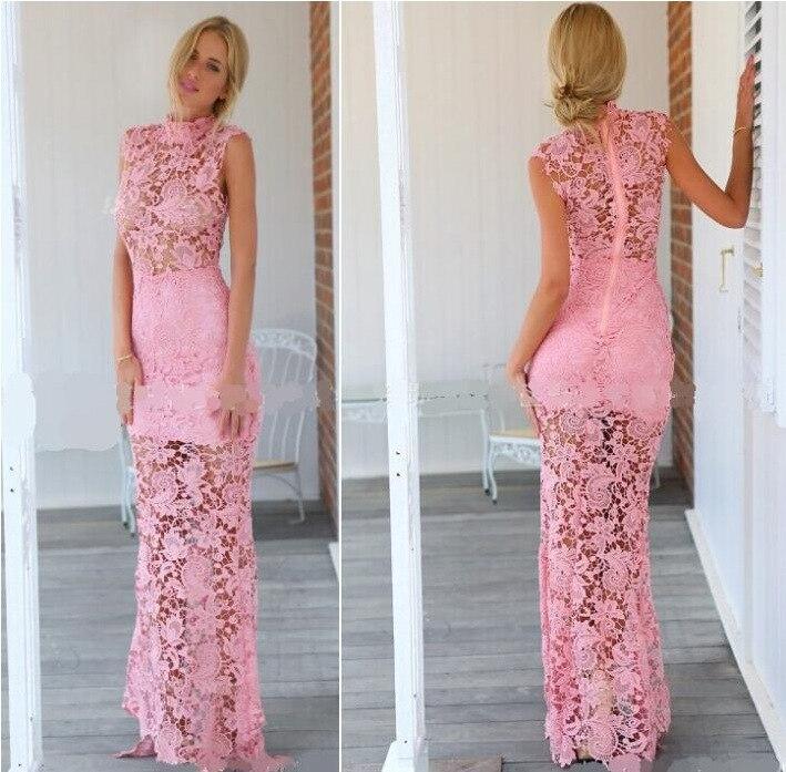 High neck black lace prom dress