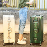 ZYJ Women Travel Trolley Luggages Hard Girls Men Aluminum Frame Alloy Business Rolling Airplane Luggage 20 24 29 Inch Suitcase