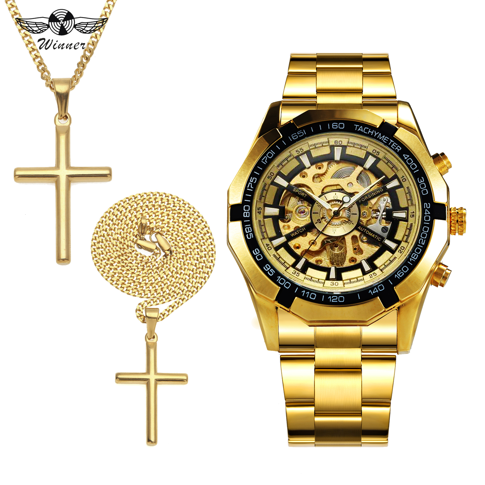 WINNER Punk HIP HOP Watch Men Jewelry Set Fashion Auto Mechanical Mens Watches Top Brand Luxury + Golden Cross Necklace 2019 HOTWINNER Punk HIP HOP Watch Men Jewelry Set Fashion Auto Mechanical Mens Watches Top Brand Luxury + Golden Cross Necklace 2019 HOT