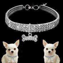 Шикарные Стразы ошейник для собаки сплав алмаз щенок, домашнее животное, кот ошейник ожерелье кость Подвески собака аксессуары для животных принадлежности