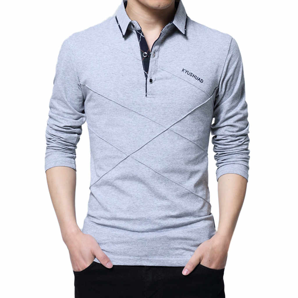 2019 Men Autumn Plus Szie T Shirt Men Casual Cotton Long Sleeve Lapel Button Fitness Clothing Men T Shirt Camisetas Hombre