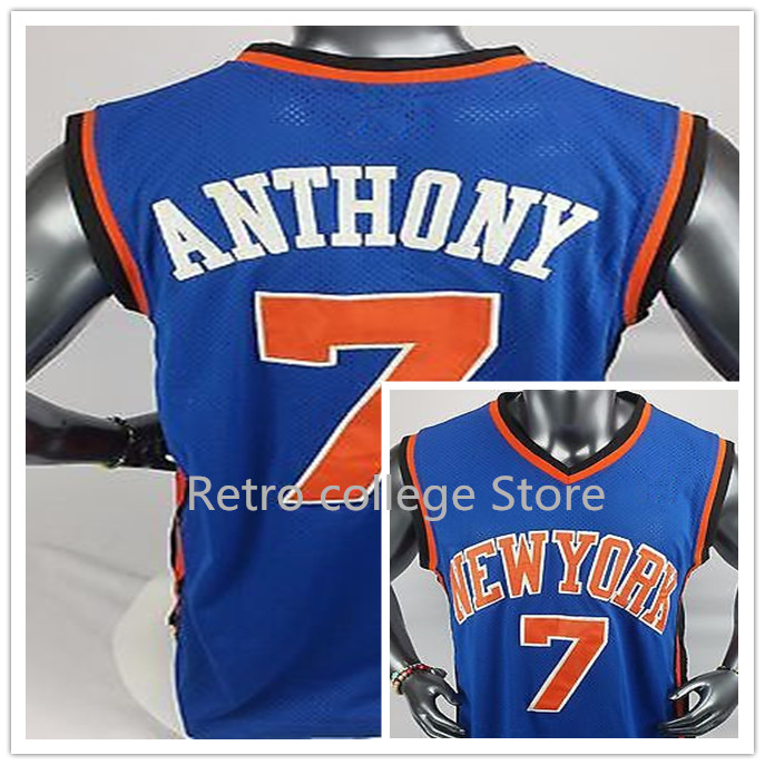 Kristaps Porzingis Jersey #6 Mens 2017 New White Blue white College new york city Basketball Jerseys 7 Carmelo Anthony ...