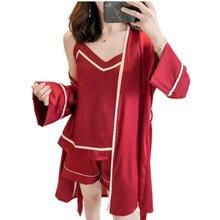 High Grade Silk Pajama Sets For Women Long Sleeve Fall Sleepwear Cami Top+Shorts+Robe 3PCS Pijamas Sexy Nightwear Home Clothing
