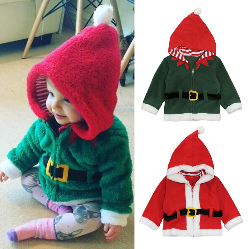 Cute Boy Coat Santa Claus Winter Tops Outwear Pullover Sweatshirt Warm Clothes
