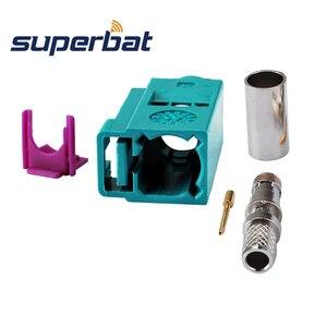 Image 2 - Superbat 10 قطعة Fakra موصل تجعيد جاك أنثى Waterblue /5021 محايد الترميز ل كابل محوري LMR195 RG58