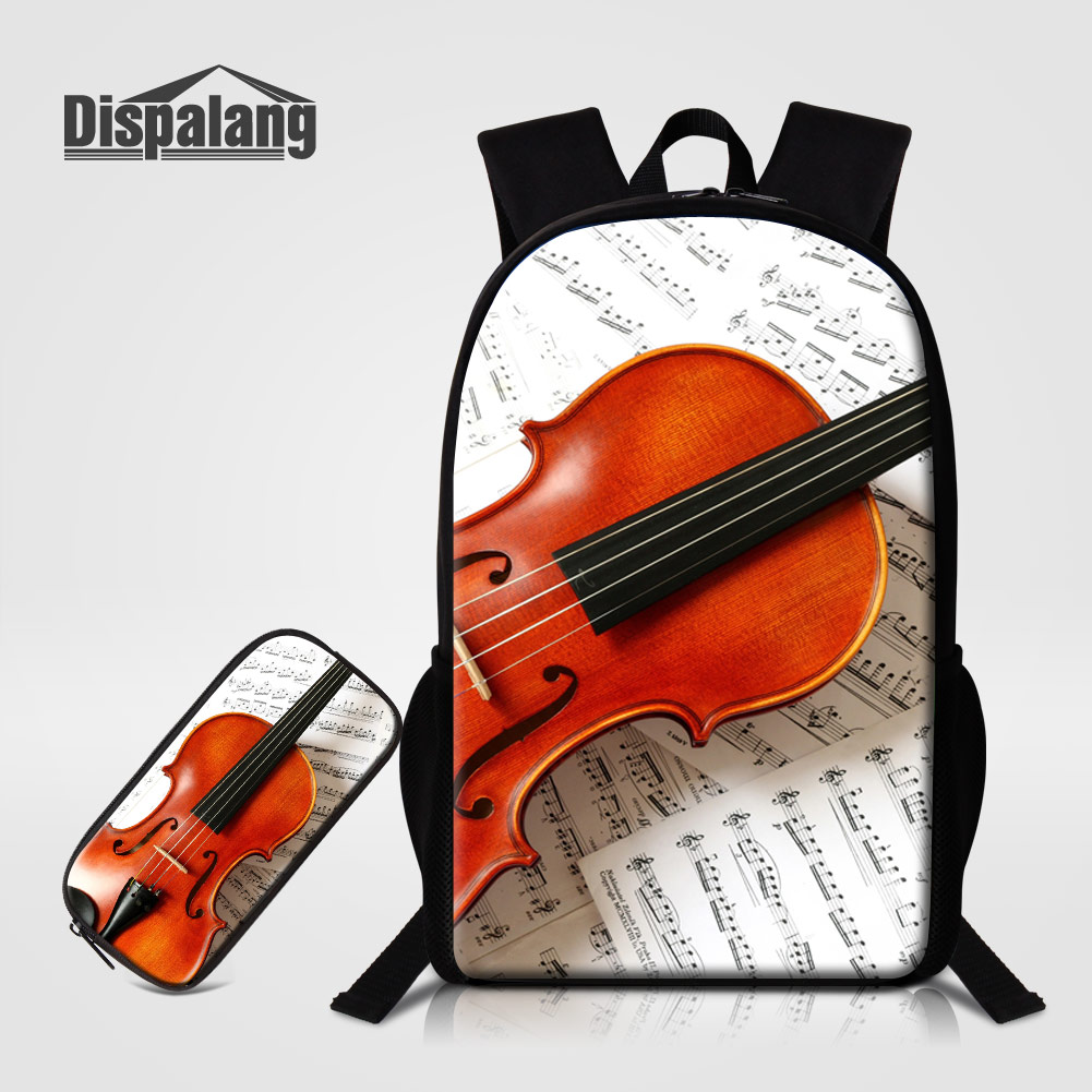 Backpacks Men's Bags Dispalang Musical Note Violin Pattern Schoolbags For Children 2 Pcs/set Backpack Pencil Case For Students Girls Mochila Rucksack And To Have A Long Life.