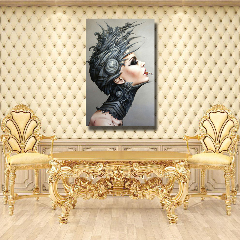 Hand painted abstract wall canvsa art painting gothic girl smoking ...