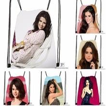 Custom Selena Gomez Cleavage Drawstring Backpack Bag Cute Daypack Kids Satchel Black Back 31x40cm 180531 03