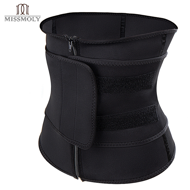 Plus Size Women Shaper Zipper Neoprene Sauna Waist Trainer Corset Slimming Belt Sweat Weight Loss Waist Cincher 4