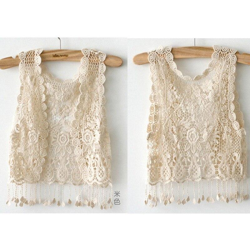 50c9d6d995c5e6 2018 Summer New Knitting Short sleeve Vest Women Girl Crochet Tassel Shrug  Top Gilet Waistcoat Cardigan Women-in Camis from Women's Clothing on ...