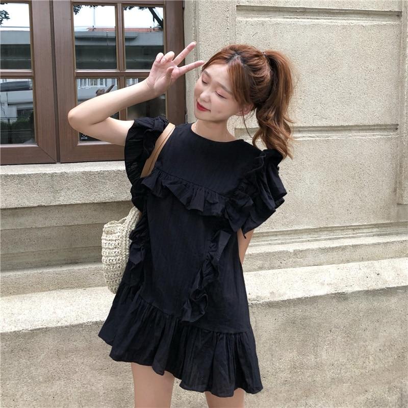 New Women Dress Ruffles Loose Sleeve Dresses White Black 8146