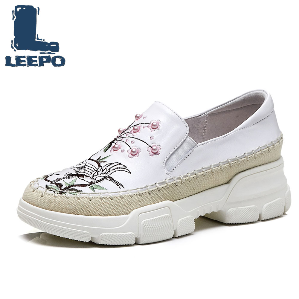 LEEPO Flat Platform Loafers Shoes for Women Luxury Handmade Genuine Leather Embroider Shoes Ladies White Spring