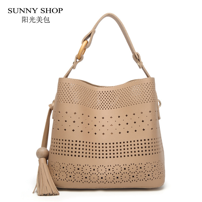 SUNNY SHOP 2017 Summer New Hollow Out Handbags With Wooden Beads Tassel Charm Original Design Women Shoulder Bags 5 Colors