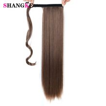 SHANGKE 24''Long Rak Ponytail Clip In Pony Tail Hair Extension Extensions Wrap på hårstycken Rak Falsk Hästsvans