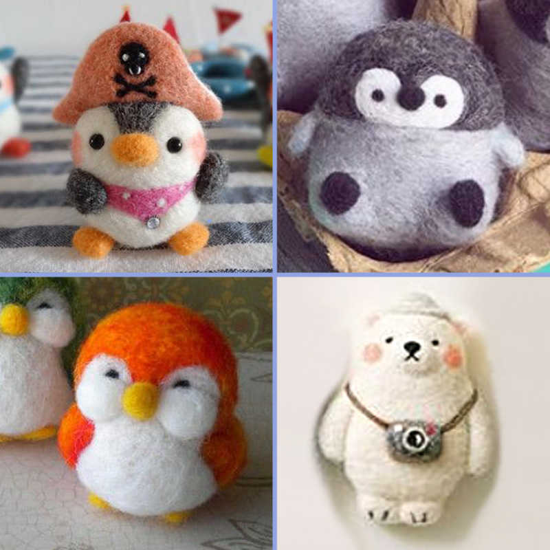 2019 Creative Cute Animal Penguin Bear Toy Doll Wool Felt Poked Kitting Non-Finished Handcarft Wool Felting Material