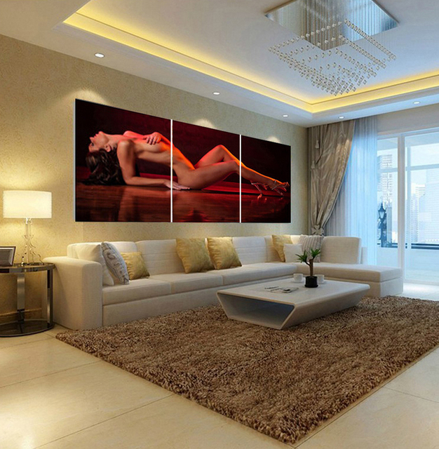 Home Decoration Wall For Bedroom Living Room Beauty Nude Decorative  Pictures Print In 3 Piece Canvas